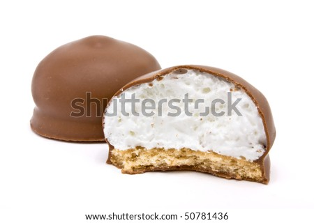 Chocolate covered Marshmallow from low viewpoint isolated against white. - stock photo