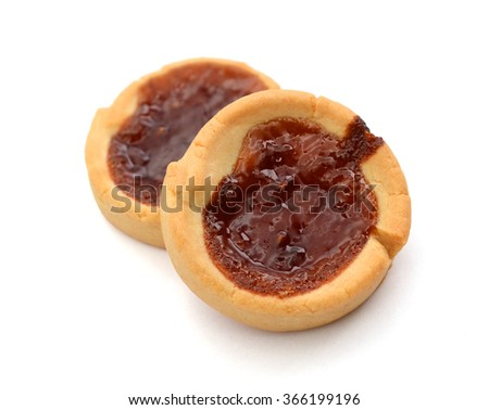 Chocolate Cream sandwich Biscuits On White Background, - stock photo
