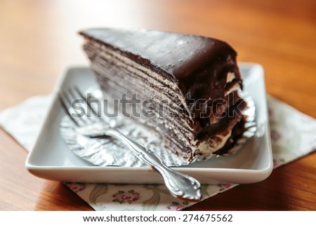 Chocolate crepe cake - stock photo