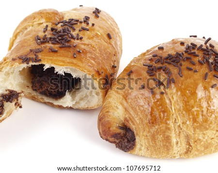 Tasty Delicious Croissant Filled With Chocolate