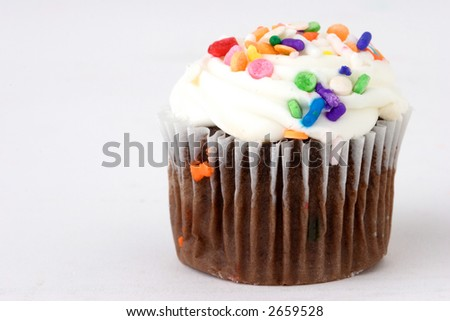 Chocolate cup cake with white frosting