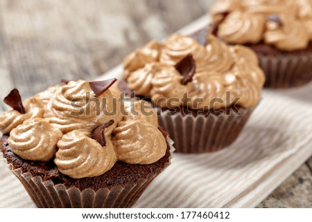 Chocolate Cupcake on a white - stock photo
