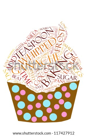 Chocolate cupcake recipe in word collage - stock photo
