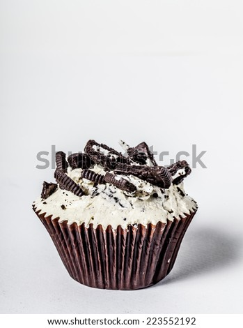 Chocolate Cupcake with Chocolate Chips Sprinkled on Top Isolated - stock photo
