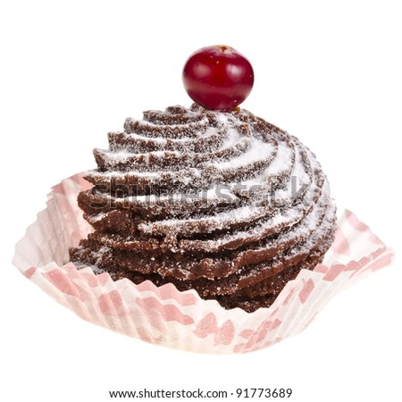 chocolate cupcake with fresh berry   isolated on a white background - stock photo