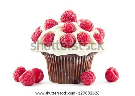 Chocolate cupcake with fresh raspberries and cream - stock photo