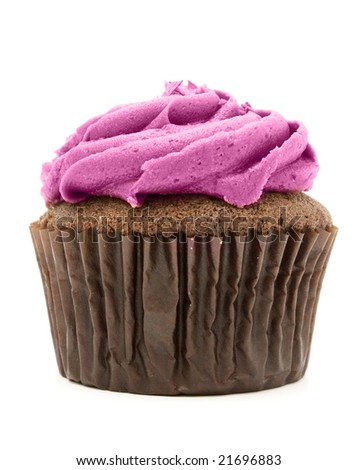chocolate cupcake with pink frosting - stock photo