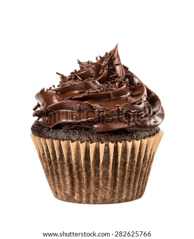 Chocolate cupcake with sprinkles isolated on white.