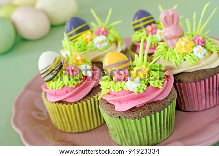 Chocolate cupcakes decorated for Easter - stock photo