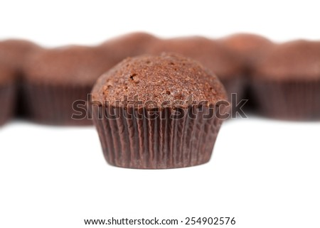 chocolate cupcakes muffins on white - stock photo