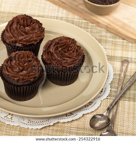 Chocolate Cupcakes. Selective focus. - stock photo