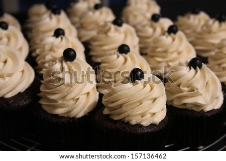 Chocolate Cupcakes with Peanut Butter Frosting for Wedding Closeup