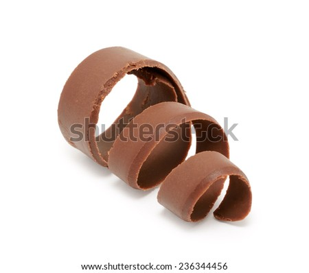 Chocolate curl isolated on white background  - stock photo