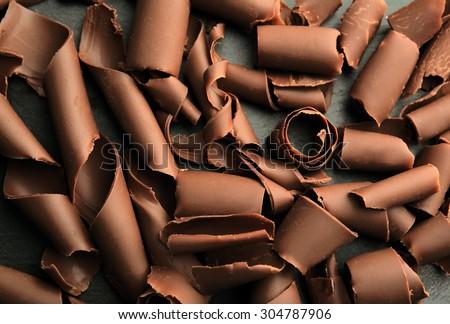 Chocolate curls close up - stock photo