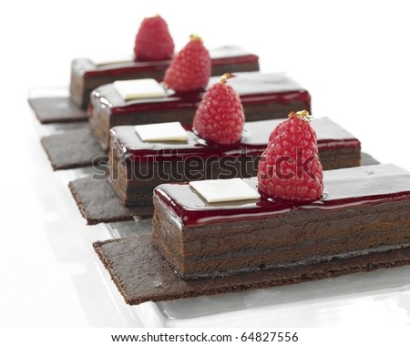 Chocolate dessert in a row - stock photo