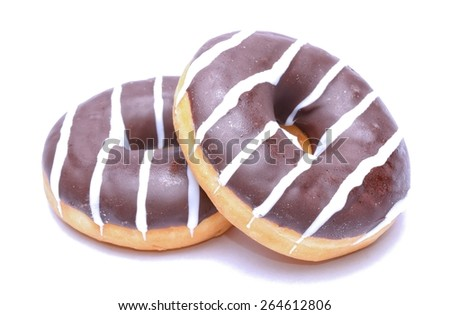 Chocolate Donuts isolated on white background - stock photo