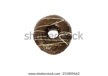 chocolate doughnut isolated on white background - stock photo