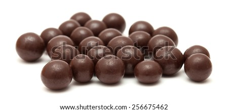 chocolate dragees isolated - stock photo