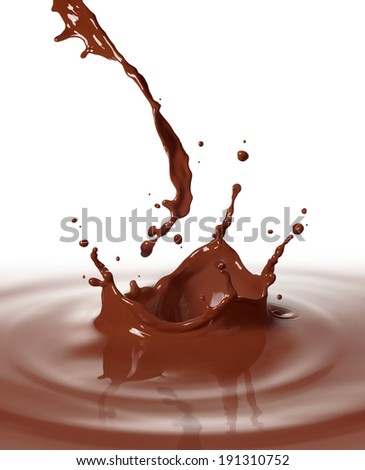 chocolate drink splashing with ripple and reflection - stock photo