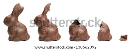 Chocolate Easter Bunny eating sequence - stock photo