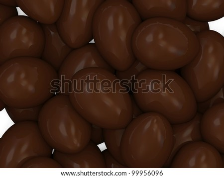 Chocolate Easter Eggs Close Up Background