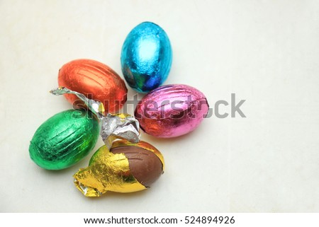 chocolate easter eggs in metallic foil, various colors