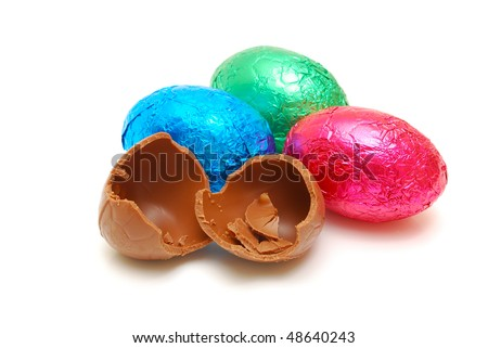 chocolate easter eggs isolated - stock photo