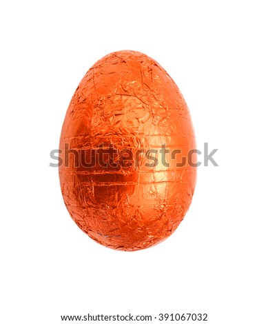 Chocolate Easter eggs isolated against a white background - stock photo