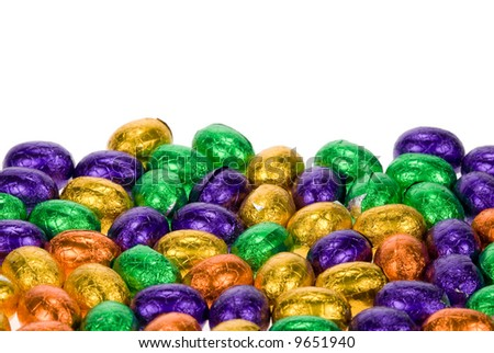chocolate easter eggs isolated on a white background