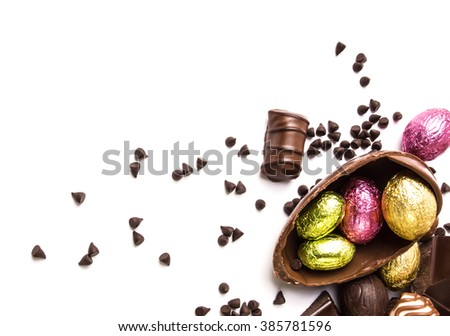 Chocolate Easter Eggs on white background - stock photo
