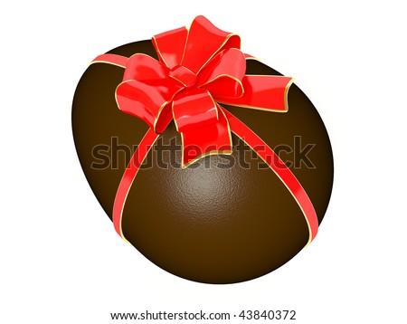 chocolate egg on white background - stock photo