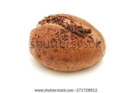 Chocolate filled Sweet Bun on a white background - stock photo