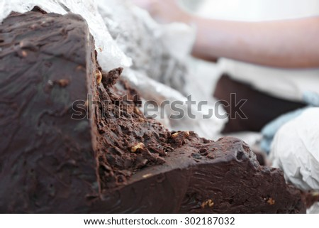 Chocolate for candies close up - stock photo