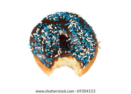 Chocolate Frosted Donut with Sprinkles and Bite Missing Isolated on White Background