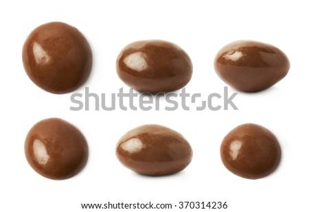 Chocolate glazed nut candy isolated - stock photo