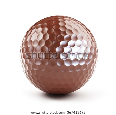 chocolate golf ball on a white background - stock photo