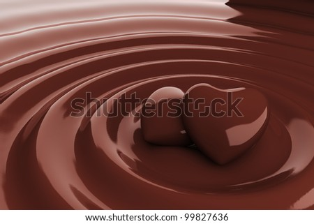 Chocolate heart in hot chocolate