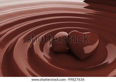 Chocolate heart in hot chocolate - stock photo