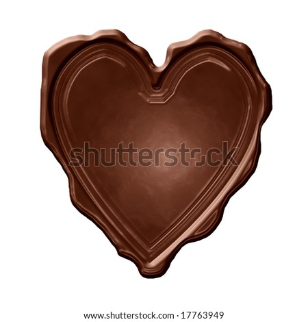 chocolate heart on a solid white background