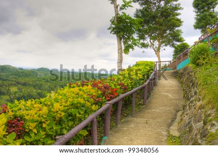 Chocolate Hills are scattered coral rock mounds, Bohol, Philippines - stock photo
