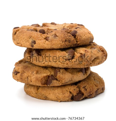 Chocolate homemade pastry biscuits isolated on white background - stock photo