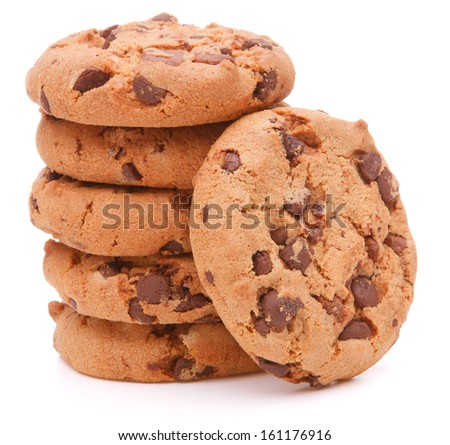 Chocolate homemade pastry cookies isolated on white background - stock photo