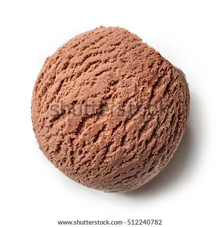chocolate ice cream ball isolated on white background, top view