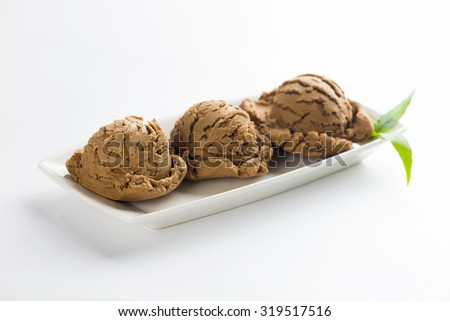 Chocolate ice cream  close up with white background - stock photo