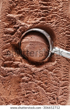 Chocolate ice cream scooped out from container