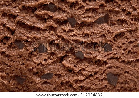 Chocolate ice cream with chocolate chips macro detailed texture