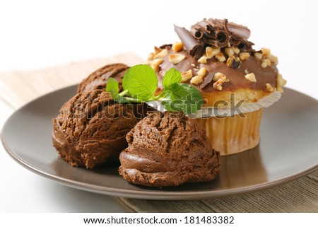 chocolate ice cream with chocolate muffin, served on the plate
