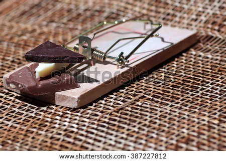 Chocolate in a mousetrap diet - stock photo