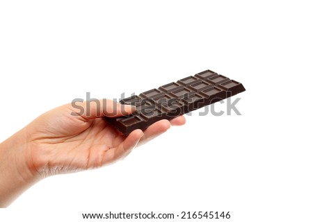 Chocolate in hand against white background.