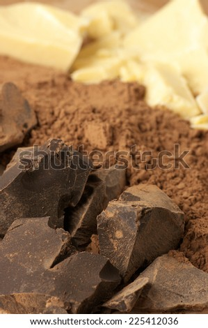 Chocolate ingredients: cocoa solids, cocoa oil and cocoa powder close-up. Shallow DOF. - stock photo